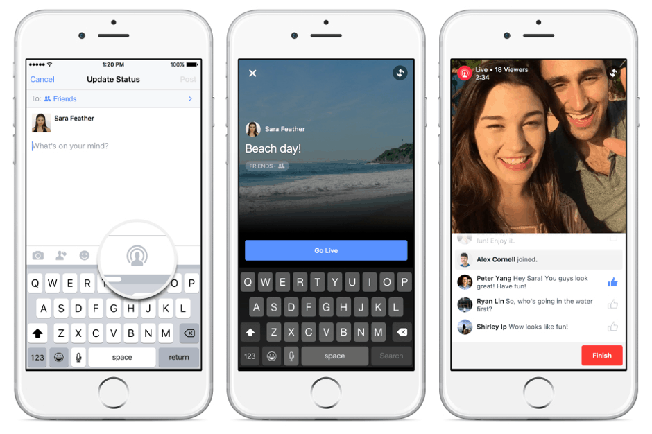 Facebook live video mobiel
