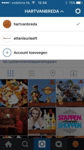 meerdere instagram account beheren menu